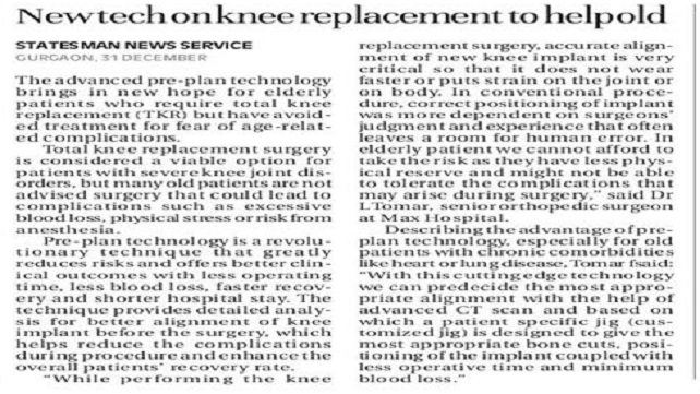 New Tech on Knee Replacement to Help Old
